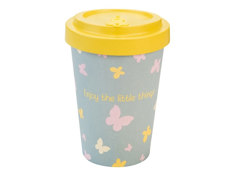 Productos naturales y BIO | BAMBOO COFFEE CUP 0.4L BUTTERFLIES
