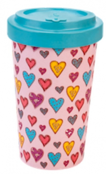 Productos naturales y BIO | BAMBOO COFFEE CUP 0.5L CANDY HEARTS