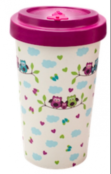 Productos naturales y BIO | BAMBOO COFFEE CUP 0.5L OWLS PINK